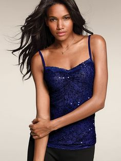 I like the idea of cute/sparkly camisole w/ leggings and comfy wrap sweater. Sequin Lace Camisole #VictoriasSecret http://www.victoriassecret.com/clothing/view-all-tops/sequin-lace-camisole?ProductID=65208=OLS_mmc=CA-_-Google-_-C_S%20SMALL%20TOPS-_-ZG-289193093M=1652901560=1602216282=pla?cm_mmc=pinterest-_-product-_-x-_-x