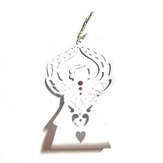 3 Angel Christmas Tree Ornament. Pearls White and Gold Cord