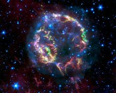 Star Explosion is Suprisingly Neat & Tidy - Credit: NASA/JPL-Caltech/Univ. of Minn. False-color image taken by Spitzer: Blue glow around Cas A is material heated by forward shock wave. Green, yellow and red is material heated by reverse wave. Spitzer Space Telescope, Solar Powered Lamp, Advantages Of Solar Energy, Space And Astronomy, Astrophysics, To Infinity And Beyond, Deep Space, Space Exploration, Science And Nature