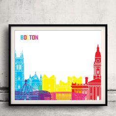 Bolton pop art skyline  Fine Art Print Glicee Poster by Paulrommer