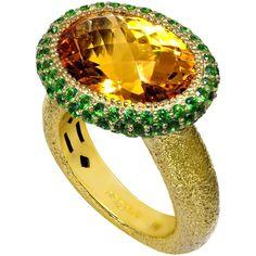 Alex Soldier Citrine Tsavorite Garnet Textured Gold Ring