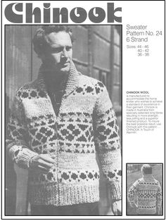 Chinook 24, sweater, pattern no. 24, for adults, which is 36 to 46 inch chest.