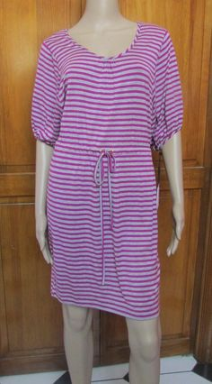Calvin Klein Pink and Gray Striped Short Sleeve Dress NWT Size 6 #CalvinKlein #Casual