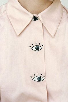Baron's Eyes Blouse // Pale pastel pink blouse with large cartoon eyes for buttons, by womenswear/clothing designer Hannah Kristina Metz - white shirts and blouses, long sleeve blouse, ladies black blouse *ad Fashion Details, Diy Fashion, Womens Fashion, Fashion Design, Latest Fashion, Moda Fashion, Style Fashion, Fashion Trends, Fashion Tips
