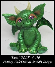 Fantasy Fairy Dragon DollHouse Mini Art Doll Polymer Clay CDHM OOAK IADR Kusa