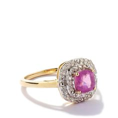 Pink Sapphire Ring with White Zircon in 9K Gold 1.91cts
