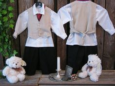 Ring bearer outfit in vintage style - rustic wedding boys suit - toddler formal wear
