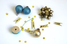 5 Mini Gift Wrap Kit  Blue and Gold  Spruce Up Your by unusuality