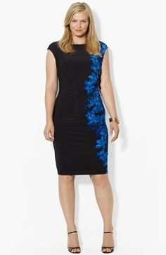 Lauren Ralph Lauren Print Jersey Sheath Dress (Plus Size) available at #Nordstrom