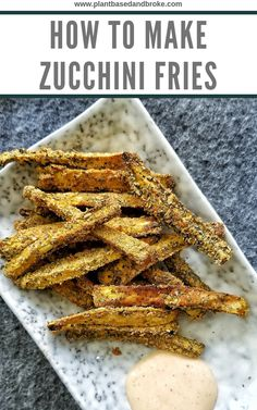 Plant-based, vegan baked zucchini fries made with healthy ingredients. Gluten-free, oil-free, and delicious! Vegan Foods, Vegan Snacks, Vegan Dinners, Vegan Recipes, Vegan Lunches, Potato Recipes, Plant Based Snacks, Plant Based Eating, Plant Based Recipes
