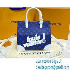 Louis Vuitton Monogram Canvas Print Tote Bag Blue 2021