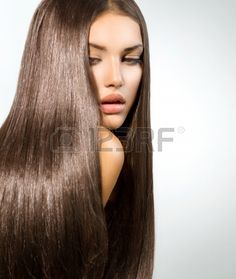 Picture of Long Healthy Straight Hair Model Brunette Girl Portrait stock photo, images and stock photography. Sleek Hairstyles, Straight Hairstyles, Get Thicker Hair, Silky Smooth Hair, Straight Black Hair, Oil Treatment For Hair, Natural Hair Styles, Long Hair Styles, Brunette Girl