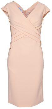 New in: Figurbetontes Kleid in Apricot mit seitlichen Zippern in Gold von Moschino.