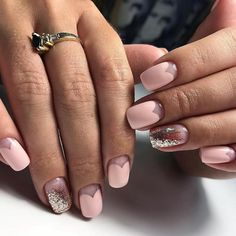 The wedding manicure - the beauty of the bride is in the smallest details - My Nails Glitter Gel Nails, Pink Nails, Ombre Nail Designs, Nail Art Designs, Negative Space Nails, Wedding Manicure, Nail Design Video, Trendy Nail Art, Natural Nails