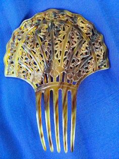 Vintage 1910s Hair Comb Art Deco Morning Glory Cut Out 2013J22