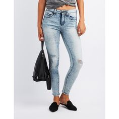 Charlotte Russe Push Up Skinny Jeans ($25) ❤ liked on Polyvore featuring jeans, indigo, zipper pocket jeans, denim skinny jeans, push up jeans, zipper jeans and low rise jeans