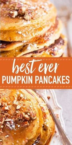 Fluffy Pumpkin Pancakes are the perfect homemade breakfast treat for fall. No need to tell how easy this pancake recipe is to make ;) The simple batter is made from scratch with flour, milk, eggs, oil, pumpkin spice and an entire cup of pumpkin puree. Fall Breakfast, Breakfast Dishes, Pumpkin Breakfast, Perfect Breakfast, Breakfast Casserole, Breakfast Ideas, Pumpkin Pancakes Easy, Pumpkin Spice Waffles, Pumpkin Oatmeal