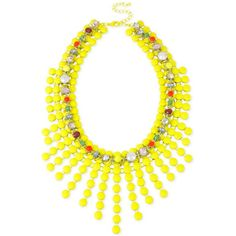 M. Haskell for Inc Gold-Tone Yellow Bead and Glass Stone Woven Frontal... ($36) ❤ liked on Polyvore featuring jewelry, necklaces, yellow, woven necklace, round necklace, woven bead necklace, beading jewelry and bead jewellery