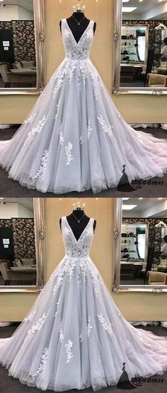 Light Grey V-Neck Long Prom Dress Applique A-Line Tulle Evening Dress,HS400 #promdress #fashion #shopping #dresses #evening