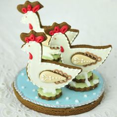 The Twelve Days of Christmas Cookie Project, Three French Hens – The Sweet Adventures of Sugar Belle