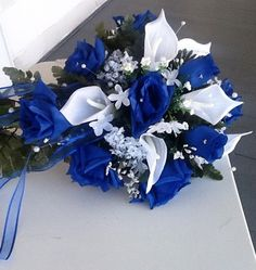 Royal Blue And White Cascade Wedding bouquet With CALA Lilies