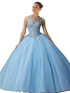 illusion sheer neckline ,embroidery ball gowns , sweet 16 party dresses , quinceanera dresses ball gowns ,ball gown prom dresses ,light sky blue , corset back , keyhole back ,floor length long ,crystals ,beading ,bling crystals tulle , prom dresses gowns new check