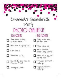 Personalized Bachelorette Party: Photo Challenge