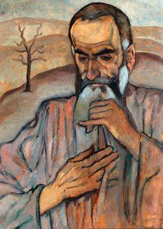 Reuven Rubin. The prophet. O/Cardboard 66x45cm. 1919.