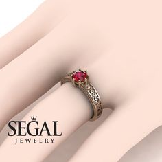 Victorian Hearts Ruby Ring- Evelyn no. 5 Rose Gold Engagement Ring by Segal JewelryRose Gold Engagement Ring by Segal Jewelry Engagement Ring For Her, Elegant Engagement Rings, Wedding Rings Simple, Wedding Rings Vintage, Antique Engagement Rings, Antique Rings, Diamond Wedding Rings, Wedding Ring Bands, Bridal Rings