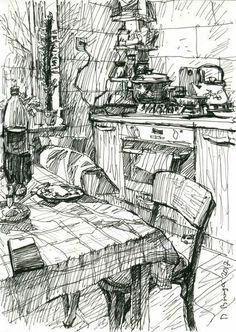 Kitchen # 4 (sketch) Ink drawing by Dima Braga Drawing Sketches, Art Drawings, Sketch Ink, Horse Drawings, Drawing Art, Drawing Tips, Kitchen Drawing, Landscape Sketch, Landscape Edging