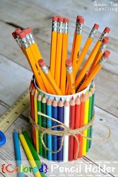 DIY Teacher Gift: {Colored} Pencil Holder made from a tin can
