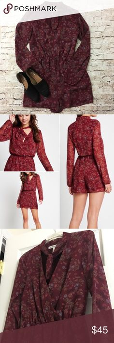 BCBGeneration   floral print scarf neck romper Super cute maroon floral patterned romper by BCBG. NWOT. Size small. Wrap style front with button and neck tie detail. Super cute!! BCBGeneration Pants Jumpsuits & Rompers