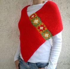 Tejer chal Poncho Bolero bufanda abrigo rojo con motivos