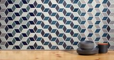 Heath Ceramics Launches Mural, A Multidimensional Pattern - Design Milk Heath Ceramics Tile, Heath Tile, Rhombus Tile, Interior Styling, Interior Decorating, Interior Design, Glass Tile Backsplash, Kitchen Backsplash, Tiles Texture