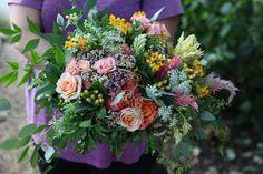Pink and yellow wildflower bouquet.  Garden Gate Florals-Orlando.  In Virginia @hollychapple  flowers studio.