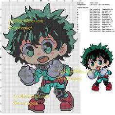 Deku My hero Academia cross stitch pattern 100x142 14 colors