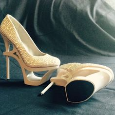 Privileged Prevee cut out platform Beige leather covered with flat gold studs, cut out 2.5 inch platform with 6.5 inch heel. Brand new, never worn! Privileged Shoes Platforms