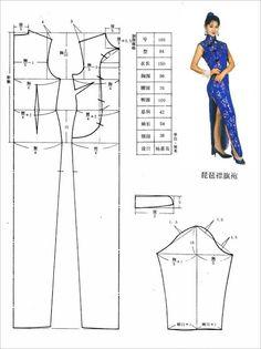 Chinese dress pattern perfect for a chun li costume Sewing Patterns Free, Clothing Patterns, Sewing Clothes, Diy Clothes, Dress Sewing, Dress Making Patterns, Pattern Making, Cheongsam Dress, Diy Dress