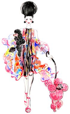POODLES, outfit inspired by Elie Saab Spring RTW collection-Illustration by Sunny Gu #fashion #illustration #fashionillustration
