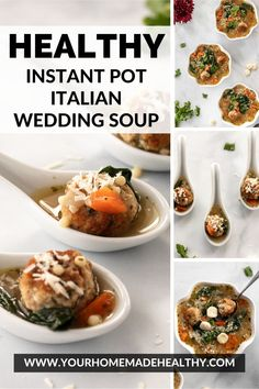 Instant pot Italian wedding soup is a warm and comforting soup for any occasion! It's quick, easy, and packed full of healthy ingredients. Serve it as a family dinner, quick and healthy lunch, or simple appetizer. Made with lots of vegetables, tender and juicy chicken meatballs, and clear chicken broth, this soup is as good for you as it is delicious! Store any extra in your freezer, and you'll be so happy to have a healing, healthy meal year round! Ground Chicken Recipes, Wedding Soup, Chicken Meatballs, Healthy Soup Recipes, Asian Cooking, Main Meals, Freezer, Appetizer, Instant Pot