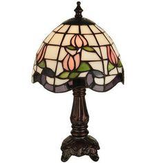 "Meyda Tiffany Greenbriar Oak Roseborder 12"" Table Lamp"