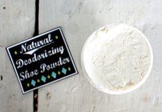 DIY Natural Deodorizing Shoe Powder Recipe with Free Printable Labels