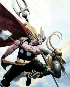 Thor and Loki art. I'm not sure who the artist is but beautiful job to them!!
