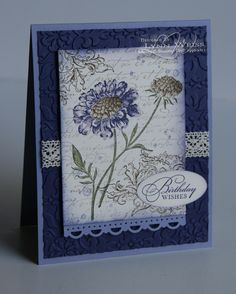 Field Flowers stamp, bkgrnd inked in Soft Suede, French Foliage (the splatter marks) inked in Wisteria Wonder, Watercolor Wishes (retired) for the greeting inked in Concord Crush, and French Background (retired) inked in Crumb Cake, cs: wisteria and concord