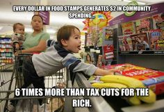 Every dollar paid out via food stamps puts two dollars back into the local economy.
