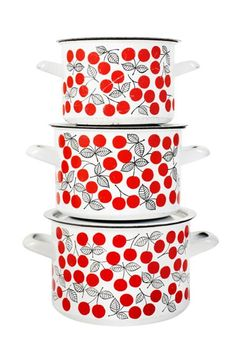 Iloista emalia -- Kaj Franck and Esteri Tomula, Finel Finland, Kirsikka Vintage Enamelware, Vintage Kitchenware, Scandinavian Kitchen, Scandinavian Design, Retro Design, Vintage Designs, Vintage Kitchen Accessories, Marimekko, Household Items