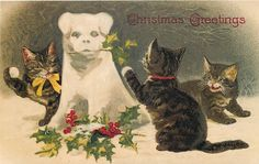 Christmas Cats with Dog Snowman Snowball Fight Repro Postcard