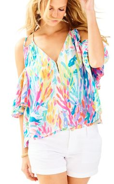 The Bellamie Top is a printed flowy open shoulder top perfect for short or white denim.