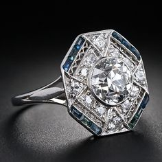 1.28 Carat Diamond and Calibre Sapphire Art Deco Ring - 10-1-5442 - Lang Antiques
