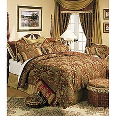 The Sherry Kline China Art bedding collection features a flowing Asian-inspired jacquard design.in burgundy red and golds. This bedding set includes comforter, bedskirt, shams, and two decorative pillows.